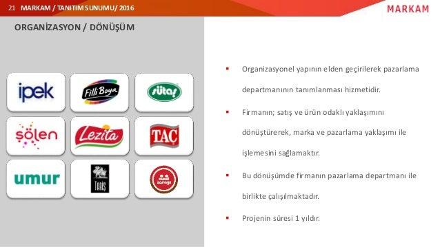 MARKAM / TANITIM SUNUMU/ 2016 ORGANİZASYON / DÖNÜŞÜM  Organizasyonel yapının elden geçirilerek pazarlama departmanının ta...