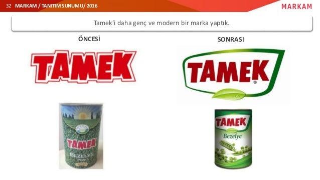 MARKAM / TANITIM SUNUMU/ 2016 ÖNCESİ SONRASI Tamek'i daha genç ve modern bir marka yaptık. 32