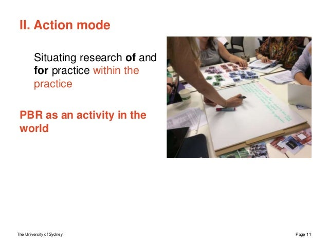 The University of Sydney Page 11 II. Action mode Situating research of and for practice within the practice PBR as an acti...