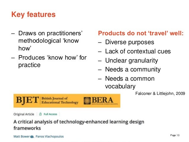 The University of Sydney Page 13 Key features – Draws on practitioners' methodological 'know how' – Produces 'know how' fo...