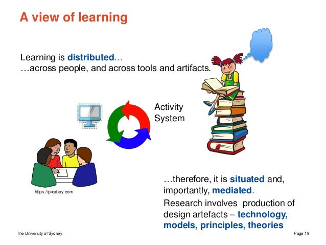 The University of Sydney Page 19 A view of learning Learning is distributed… …across people, and across tools and artifact...