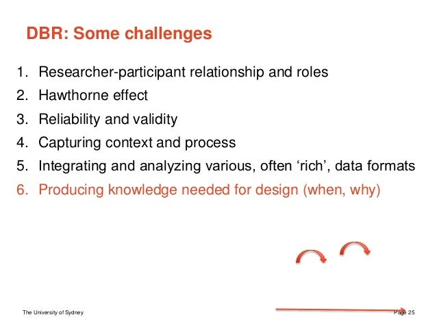 The University of Sydney Page 25 DBR: Some challenges 1. Researcher-participant relationship and roles 2. Hawthorne effect...