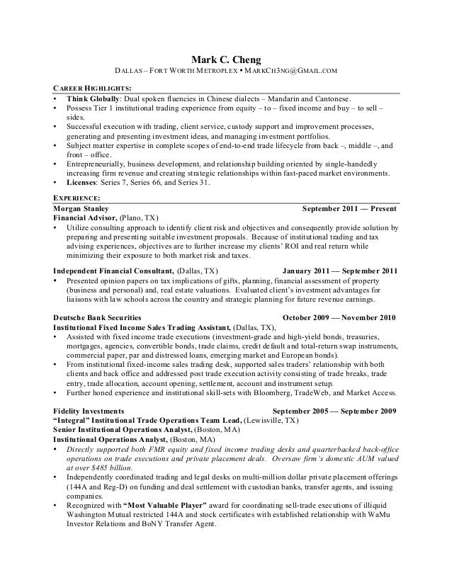Institutional Sales Trader Resume Sample