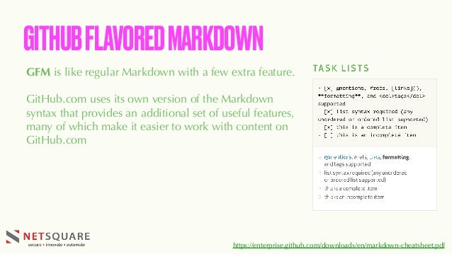 GFM is like regular Markdown with a few extra feature. GitHub.com uses its own version of the Markdown syntax that provide...