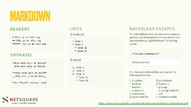 MARKDOWN https://enterprise.github.com/downloads/en/markdown-cheatsheet.pdf