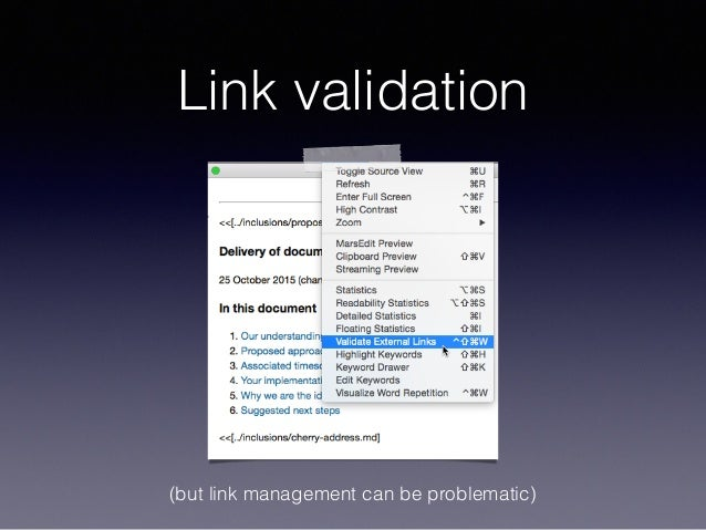 Link validation (but link management can be problematic)