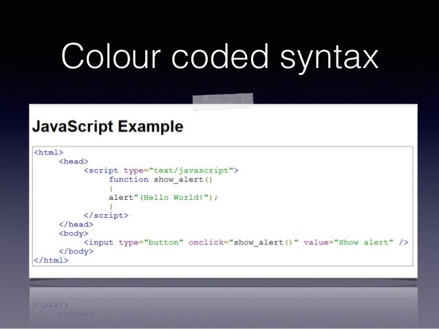 Colour coded syntax