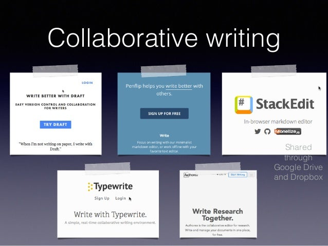 Collaborative writing Shared through Google Drive and Dropbox