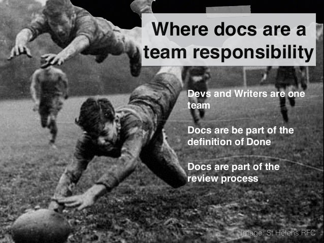 Where docs are a team responsibility Devs and Writers are one team Docs are be part of the definition of Done Docs are part...