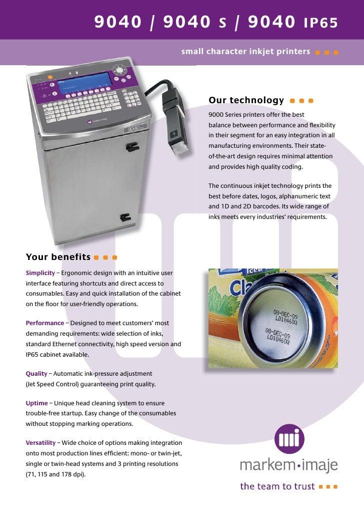 markem imaje 9040 ink jet printer rh slideshare net markem imaje 4020 printer manual Markem Printer Barcode