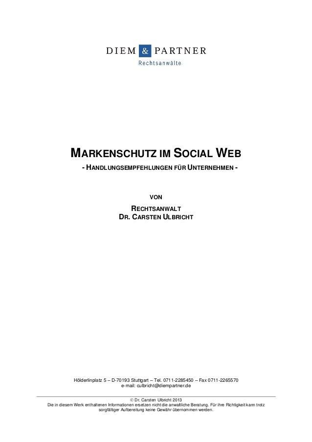 Hölderlinplatz 5 – D-70193 Stuttgart – Tel. 0711-2285450 – Fax 0711-2265570e-mail: culbricht@diempartner.de Dr. Carsten U...