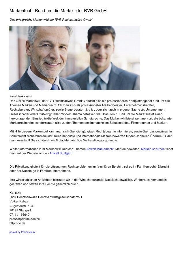 Markentool - Rund um die Marke - der RVR GmbH Das erfolgreiche Markenwiki der RVR Rechtsanwälte GmbH  Anwalt Markenrecht  ...