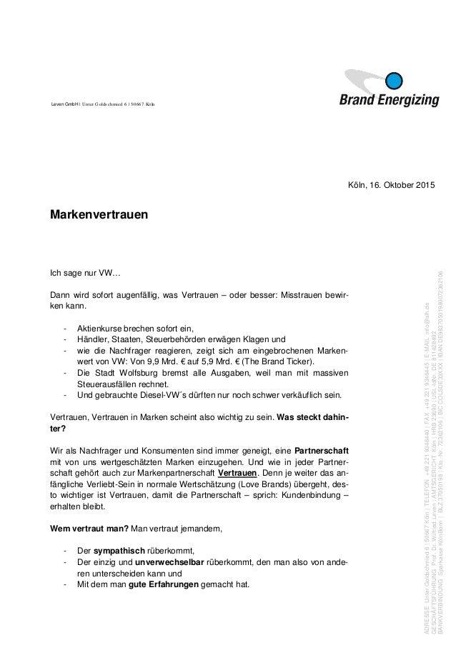 Markenvertrauen am Beispiel VW