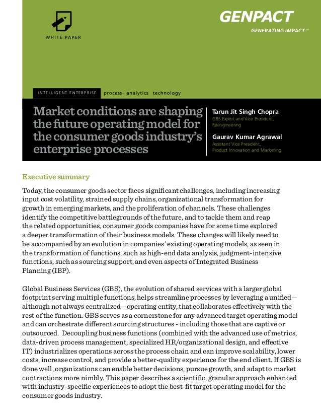 Executivesummary Today, the consumer goods sector faces significant challenges, including increasing input cost volatility...