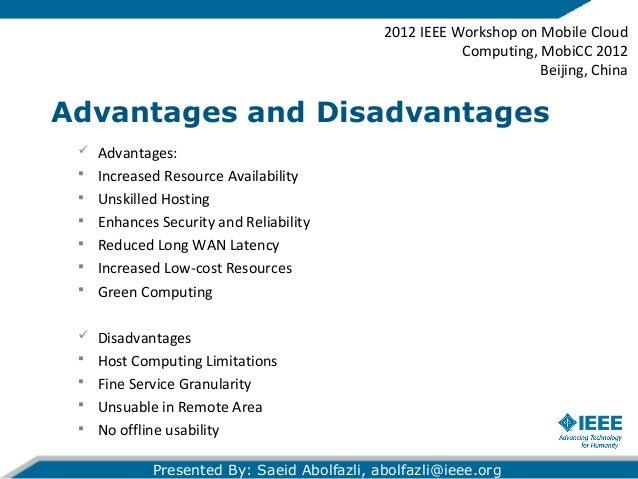 Advantages disadvantages of cloud com