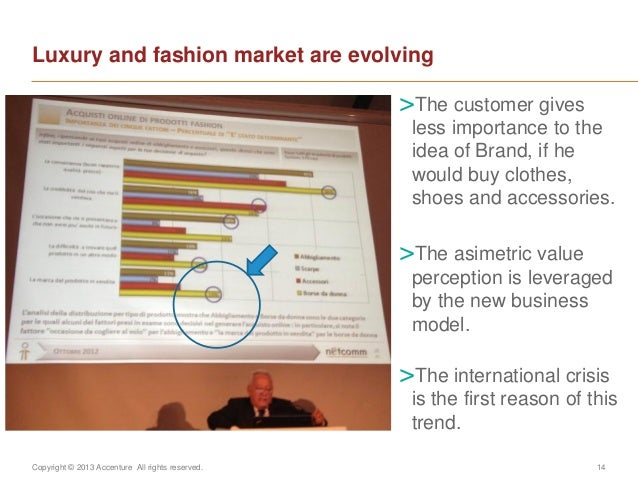 Copyright © 2013 Accenture All rights reserved. 14Luxury and fashion market are evolving>The customer givesless importance...
