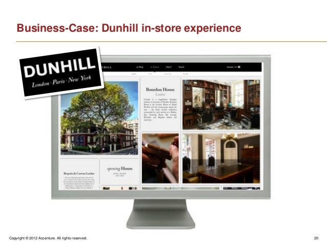 Copyright © 2012 Accenture. All rights reserved. 20Business-Case: Dunhill in-store experience