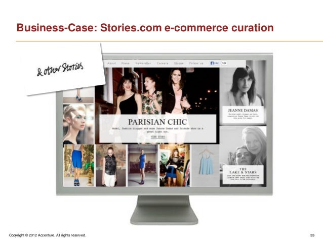 Copyright © 2012 Accenture. All rights reserved. 33Business-Case: Stories.com e-commerce curation