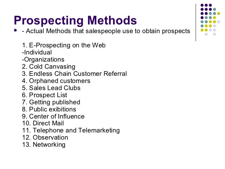 The Sales Process: Prospecting