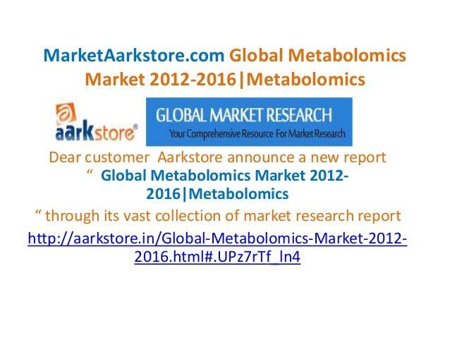 "MarketAarkstore.com Global Metabolomics Market 2012-2016|Metabolomics Dear customer Aarkstore announce a new report "" Glob..."