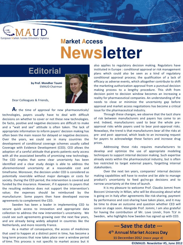 Market Access                                          Newsletter               also applies to regulatory decision making...