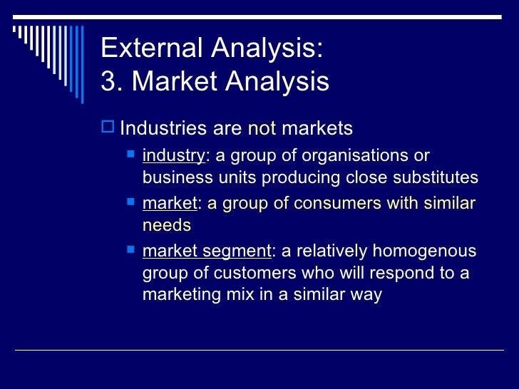 External Analysis: 3. Market Analysis <ul><li>Industries are  not  markets </li></ul><ul><ul><li>industry : a group of org...