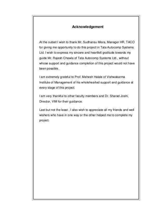 Organizational study report at tata autocomp