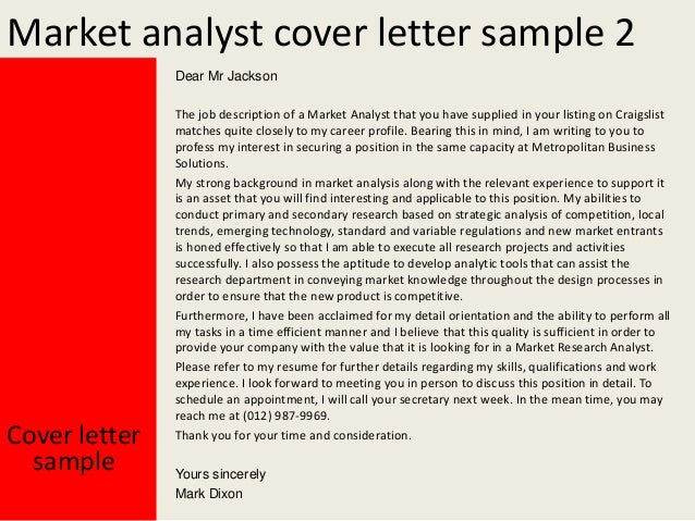 Capacity analyst cover letter