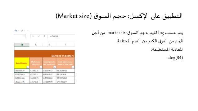 التطبيق على الإكسل: حجم السوق (Market size)  يتم حساب log لقيم حجم السوق market size من أجل  الحد من الفرق الكبير بين القي...