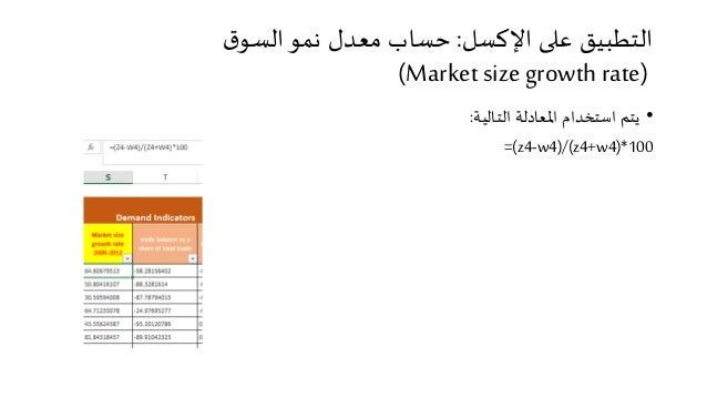 التطبيق على الإكسل: حساب معدل نمو السوق  (Market size growth rate)  • يتم استخدام المعادلة التالية:  =(z4-w4)/(z4+w4)*100