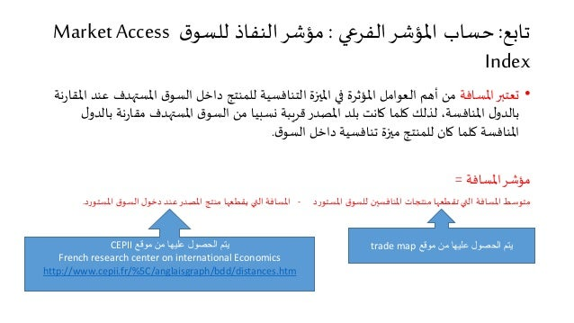 تابع: حساب المؤشر الفرعي : مؤشر النفاذ للسوق Market Access Index  • تعتبر المسافة من أهم العوامل المؤثرة في الميزة التنافس...