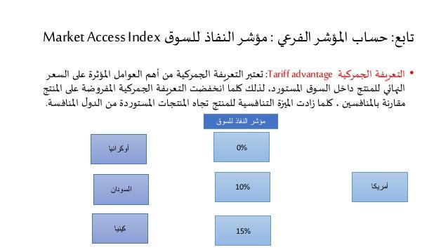 تابع: حساب المؤشر الفرعي : مؤشر النفاذ للسوق Market Access Index  • التعريفة الجمركية Tariff advantage : تعتبر التعريفة ال...