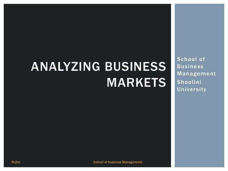 School of        ANALYZING BUSINESS                      Business                                                Managemen...