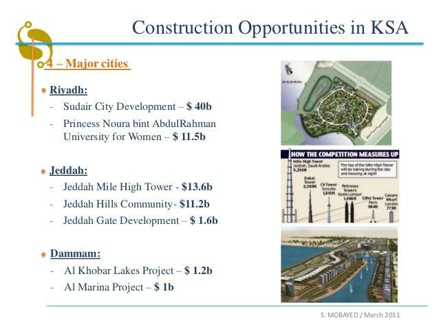 Construction Opportunities in KSA4 – Major citiesRiyadh:- Sudair City Development – $ 40b- Princess Noura bint AbdulRahman...