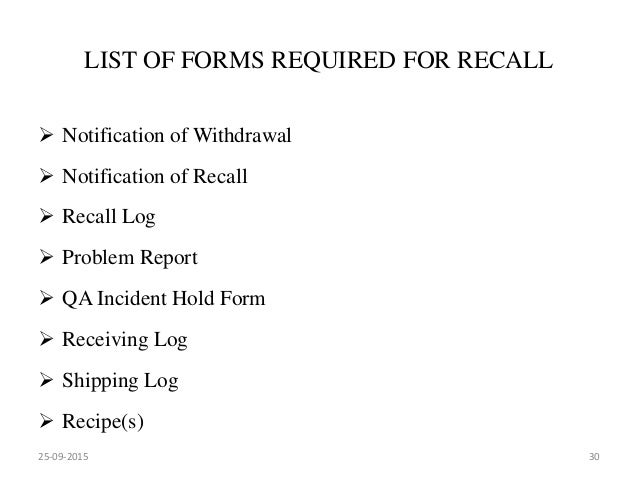 Market complaints and product recall 25 09 2015 29 30 list of forms required for recall notification spiritdancerdesigns Gallery