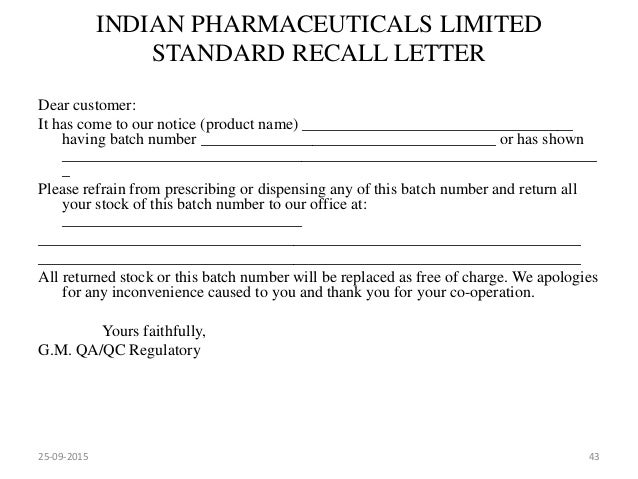 Market complaints and product recall 25 09 2015 42 43 indian pharmaceuticals limited standard recall letter spiritdancerdesigns