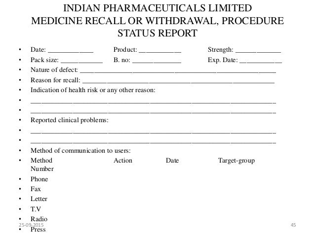 Market complaints and product recall 25 09 2015 44 45 indian pharmaceuticals limited medicine recall spiritdancerdesigns Gallery