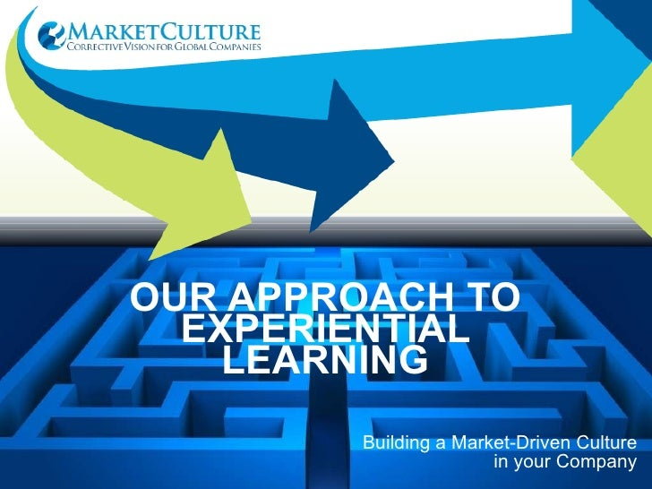Building a Market-Driven Culture in your Company OUR APPROACH TO EXPERIENTIAL LEARNING