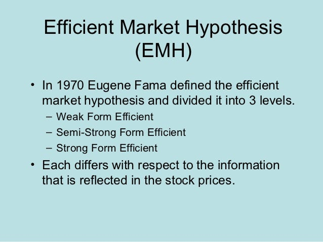 the efficient market hypothesis The efficient market hypothesis states that share prices reflect all relevant information, and that it is impossible to beat the market or achieve above-average returns on a sustainable basis there are many critics of this theory, such as behavioral economists, who believe in inherent market inefficiencies.