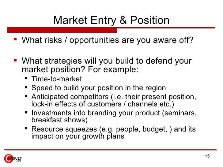 market entry strategy for entry into