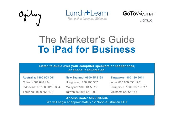 The Marketer's Guide           To iPad for Business           Listen to audio over your computer speakers or headphones,  ...