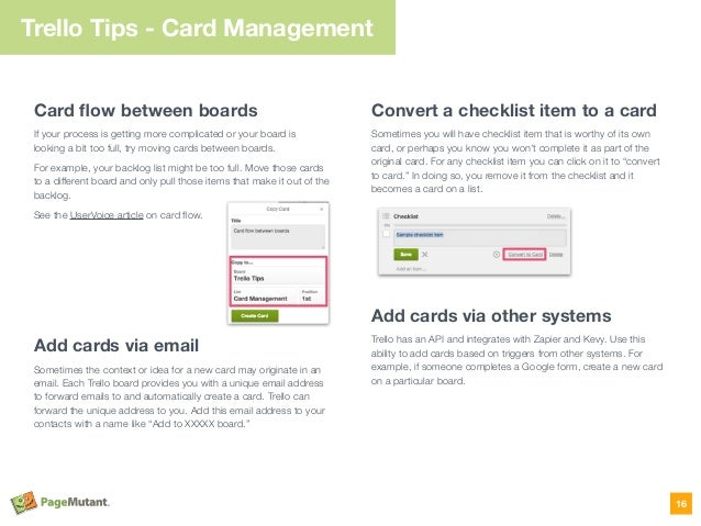 Trello Tips - Card Management Card flow between boards If your process is getting more complicated or your board is looking...