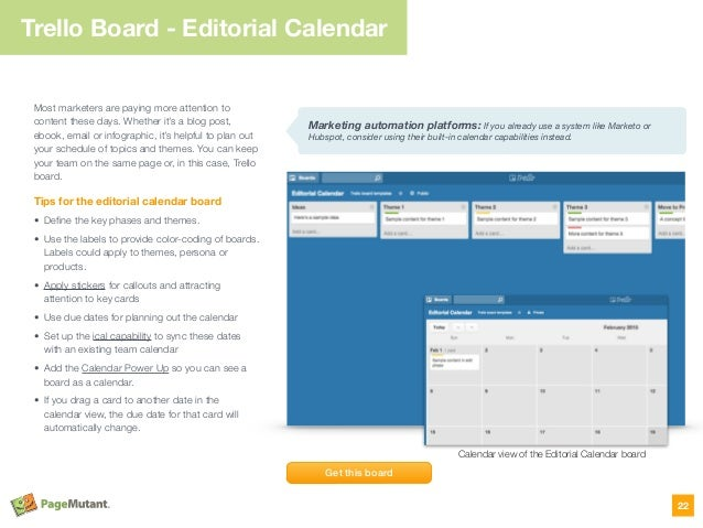 Trello Board - Editorial Calendar Most marketers are paying more attention to content these days. Whether it's a blog post...