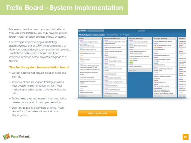 Trello Board - System Implementation Marketers have become more sophisticated in their use of technology. You may have to ...