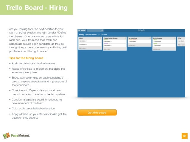 Trello Board - Hiring Are you looking for a the next addition to your team or trying to select the right vendor? Define the...