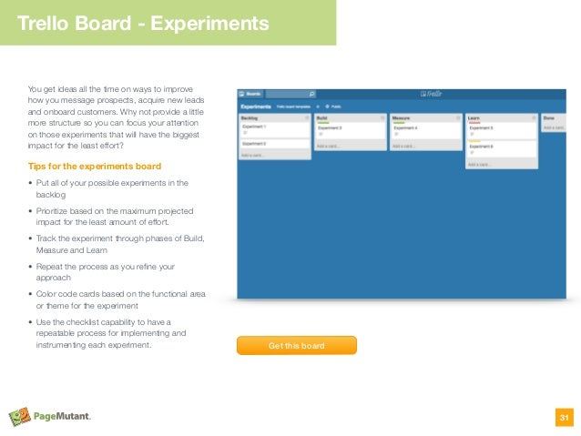 Trello Board - Experiments 31 You get ideas all the time on ways to improve how you message prospects, acquire new leads a...