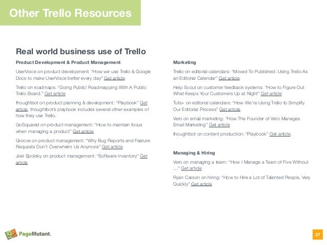 Other Trello Resources Real world business use of Trello Product Development & Product Management UserVoice on product dev...