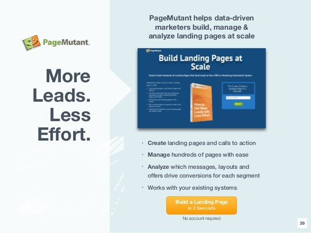39 PageMutant helps data-driven marketers build, manage & analyze landing pages at scale • Create landing pages and calls ...