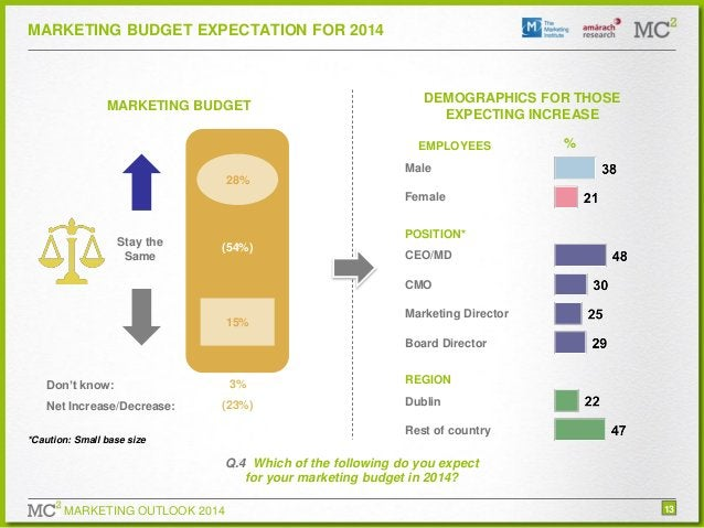 MARKETING BUDGET EXPECTATION FOR 2014  MARKETING BUDGET  DEMOGRAPHICS FOR THOSE EXPECTING INCREASE EMPLOYEES  %  Male 28% ...