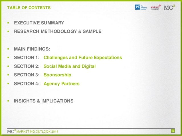 TABLE OF CONTENTS    EXECUTIVE SUMMARY    RESEARCH METHODOLOGY & SAMPLE    MAIN FINDINGS:    SECTION 1: Challenges and...